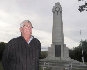 Colin Ewing has paid for a second flagpole to be installed at the Maheno Cenotaph to fly the Australian flag at Anzac services. Photo by Shannon Gillies.