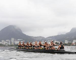The New Zealand women's eight during their heat. Photo: Getty Images