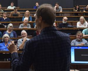 Researcher and author Nicky Hager speaks at the University of Otago yesterday afternoon. Photo:...