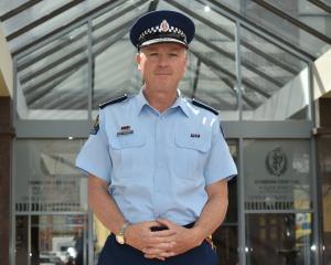 Superintendent Paul Basham outside the Dunedin Central Police Station. Photo: Gregor Richardson.