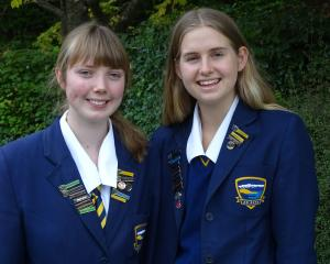 Wakatipu High School pupils Leah Kissick (16), left, and Olivia Ray (17), who will make speeches...