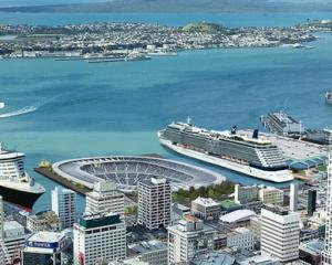 """An artist's impression for a version of """"The Crater"""" stadium including cruise liner berths."""