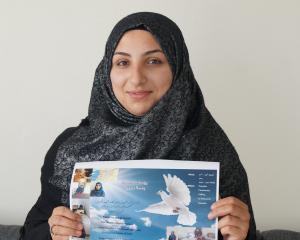 Syrian former refugee Hana Alhkalil, who arrived in Dunedin a year ago on Saturday, is part of a group of Syrian women who will host the ''Basmat Syria'' exhibition at the Dunedin Community Gallery next week. PHOTO: GRETA YEOMAN