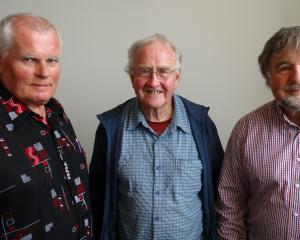 Otago Amateur Movie Makers club members (from left) Peter Begg, Ian Breeze and Mike Davies, are keen to encourage new members to join the club. PHOTO: BRENDA HARWOOD