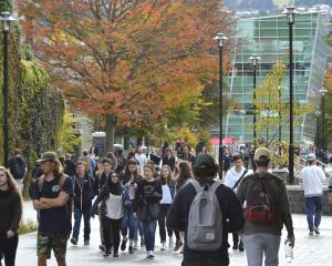 Students on the University of Otago campus yesterday. Photo by Gerard O'Brien.
