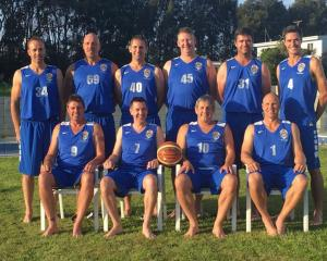 The Silver Foxes team competing in the over-40 grade at the World Masters Games in Auckland. Back...