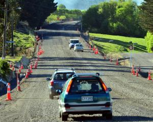 Traffic passes through Allanton despite roadworks on State Highway 86, which includes widening of...