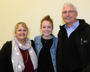 Athletics Otago athlete of the year Anna Grimaldi (centre) with her parents Di and Tony Grimaldi at the awards ceremony at Logan Park last night. Photo: Linda Robertson.