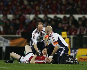 Lions captain Brian O'Driscoll after being injured in the first test of the 2005 Lions tour....