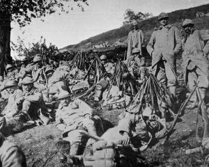 French troops in a roadside bivouac in northern France. — Otago Witness, 9.5.1917.