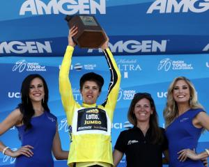 George Bennett lifts the Tour of California trophy. Photo: Getty Images