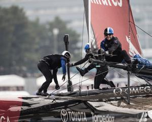 Team New Zealand lost their first race against Oracle Team USA. Photo Getty