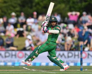 Mushfiqur Rahim scored 45 from as many balls for Bangladesh against New Zealand. Photo Getty
