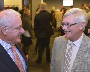 Harraways chairman Trevor Scott (left) chats with Dunedin deputy Mayor Chris Staynes at a...