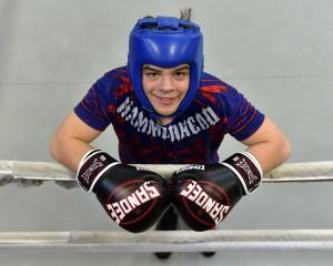 Boxer Kasib Murdoch (15) takes a break at the Olympic Gym in Mosgiel earlier this week. Photo:...