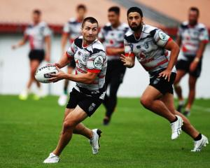 Warriors five-eighth Kieran Foran at training. Photo: Getty Images
