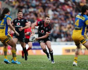 Kieran Foran looks to pass during the Warriors' win over the Eels at the weekend. Photo: Getty...
