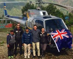The Air Dynasty team, Ashish (left, ground co-ordinator), Andrew Gutsell (pilot), Padma (ops...