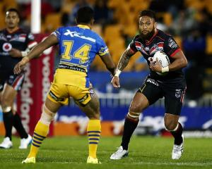Manu Vatuvei runs the ball for the Warriors against the Parramatta Eels earlier this year. Photo:...