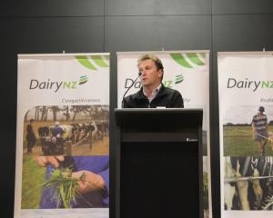DairyNZ senior economist Matthew Newman talked to farmers at the Farmers Forum. Photo: Nicole Sharp
