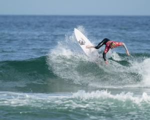 Dunedin surfer JC Susan goes through his paces at the World Surfing Games in Biarritz in France...