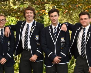 Otago Boys' High School pupils off to the Oceania Games at the end of next month are (from left):...