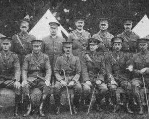 Officers of the Twelfth (Otago) Mounted Rifles at a camp in Gore, 1917. Standing (from left): Mr...