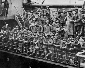 A section of Reinforcements leaving for the front on the deck of a transport ship.- Otago Witness...