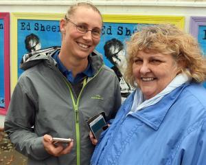Ed Sheeran fans Erin Davis (left), and Debbie Waide, both of Dunedin, met in the queue for...
