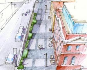 The proposed pedestrianised area of Jetty St, in Dunedin. IMAGE: SUPPLIED