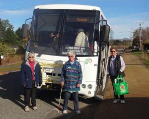 Campaigners, from left, Shirley Hewlett and Aynslie (correct) Beaton, with passenger Jan Vincent,...