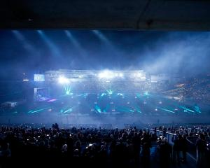A laser light show opens the World Masters Games Opening Ceremony at Eden Park in Auckland. Photo: Getty Images