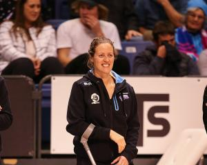 Southern Steel captain Wendy Frew watches her team beat the Mainland Tactix in an ANZ Premiership match at Horncastle Arena in Christchurch last night. Frew had surgery on her leg and elbow after the team van crashed on Monday and was released from hospit