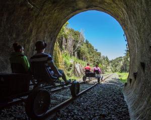 Tourists make their way along the Stratford-Okahukura Line on rail bikes. Photos: Mike Yardley.