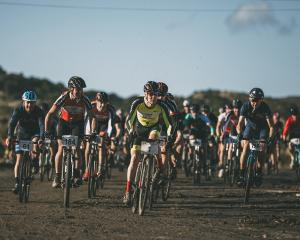 Paul Gough (No1) leads the pack out at the start of the cyclocross race at Beachlands Speedway on...