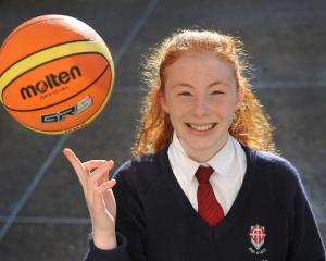 Year 9 Kavanagh College pupil Annabelle Ring (13) back at school last week after her trip to Melbourne with the New Zealand under-16 select basketball team. Photo: Christine O'Connor