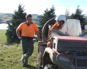Waipori Station manager Dave Vaughan (left) chats with shepherd Bradley Colbourne. Photo: Sally Rae