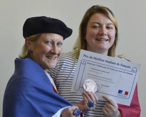 University of Otago senior lecturer in French Dr Pat Duffy and award-winning student Aleisha Lord, with her medal. Photo: Gerard O'Brien
