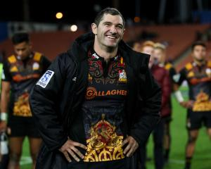 Stephen Donald smiles after playing his 100th game for the Chiefs, aganist the Waratahs at...