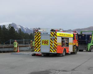 Emergency services attend an incident at the Cromwell transfer station. Photo: Jono Edwards