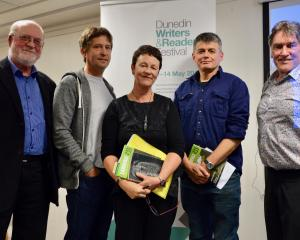 Philip Temple, Adam Dudding, Chris Price, David Eggleton and Peter Simpson at the Dunedin Writers...