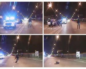 Combination of still images from video released by Chicago Police show Laquan McDonald walking...
