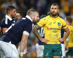 Quade Cooper of the Wallabies looks on after losing the International Test match. Photo: Getty