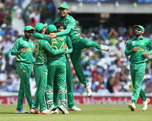 Pakistan players celebrate after beating India in the Champions Trophy final. Photo: Getty Images
