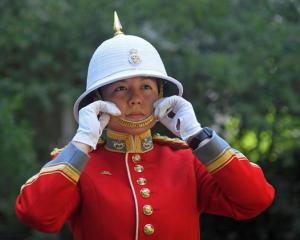 Captain Megan Couto of the 2nd Battalion poses for a photograph as she prepares to command the...