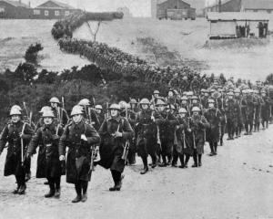 British troops on the way to the front to relieve their comrades in the trenches. — Otago Witness...