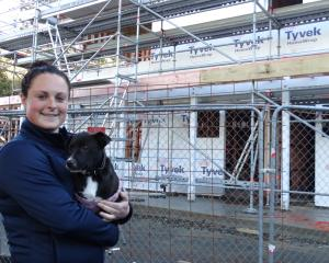 SPCA Otago animal care manager Hannah Hunsche and pup Max look over progress on building the new education and animal reception building at the Opoho animal shelter. PHOTO: Brenda Hardwood