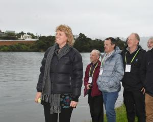Inspecting the Turnbulls Bay retaining wall on Otago Peninsula yesterday are (from left)Kathy...