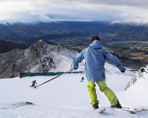 A skier on the slopes at Coronet Peak.