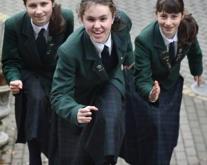 Columba College pupils (from left) Megan Macdiarmid, Laura Canton and Olivia Charles  hope to win...